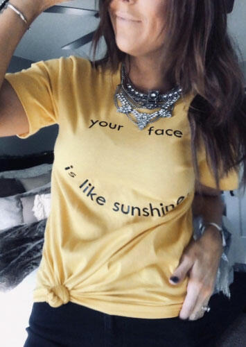 Your Face Is Like Sunshine T-Shirt Tee without Necklace – Light Yellow