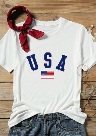 USA American Flag O-Neck T-Shirt Tee - White