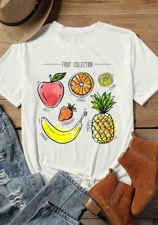 Fruit Collection O-Neck T-Shirt Tee - White