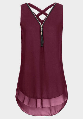 Solid Criss- Cross Zipper Tank - Burgundy