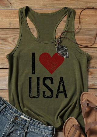 I Love USA Tank - Army Green