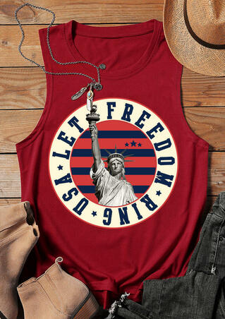 Let Freedom Ring USA Statue Of Liberty Tank - Red