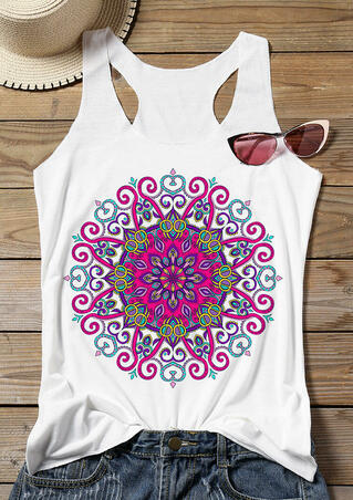 Floral Geometric Printed O-Neck Tank - White