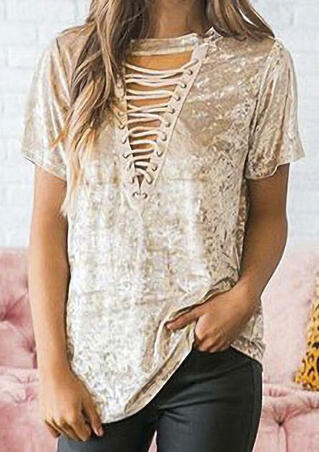 Solid Lace Up Short Sleeve Blouse - Khaki