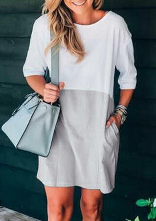 Color Block O-Neck Mini Dress - Light Grey