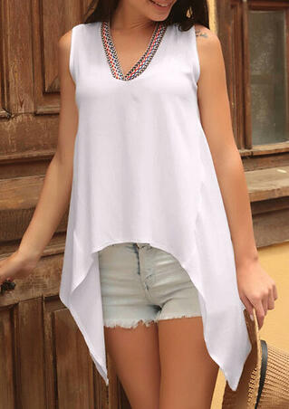 Printed Irregular V-Neck Tank - White