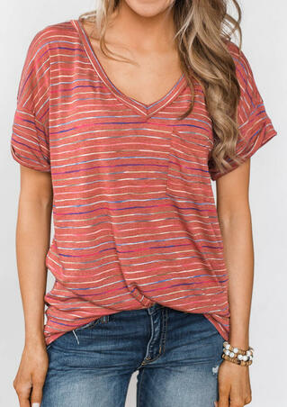 Striped V-Neck T-Shirt Tee without Necklace - Brick Red