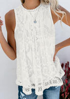 Solid Lace Layered Tank without Necklace - White