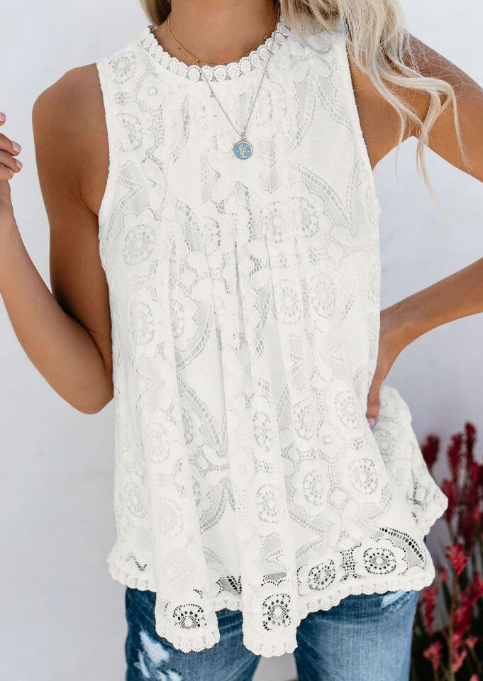 Solid Lace Layered Tank without Necklace – White
