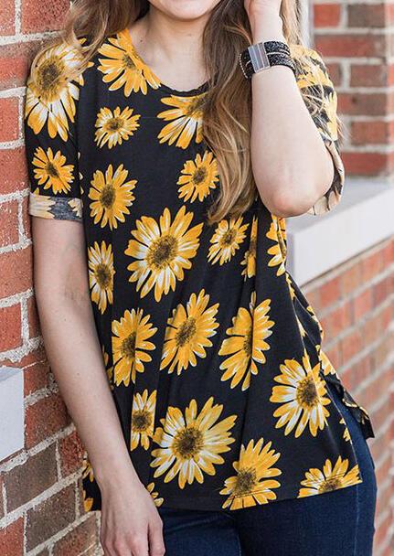 Sunflower Dreams T-Shirt Tee – Black
