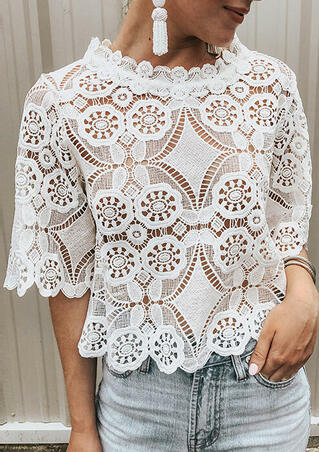 Lace Hollow Out Blouse - White