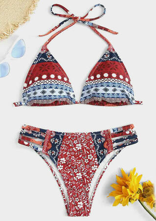 Geometric Printed Halter Hollow Out Bikini Set - Red