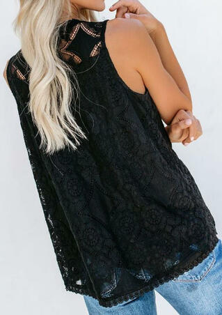 Solid Lace Layered Tank without Necklace - Black