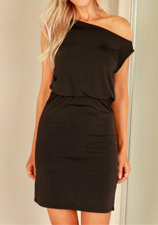 Solid One-Shoulder Bodycon Dress - Dark Coffee