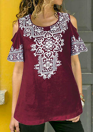 Printed Cold Shoulder Blouse - Burgundy