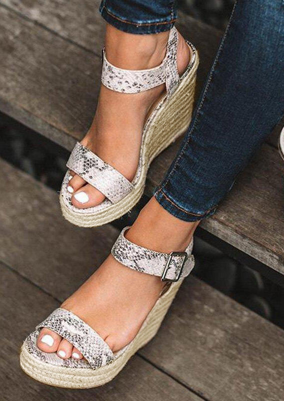 3ae57c11e56c Snake Skin Buckle Strap Wedge Sandals - Multi - Fairyseason
