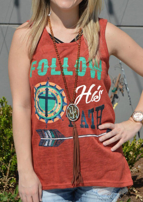 Follow His Path Tank without Necklace – Orange