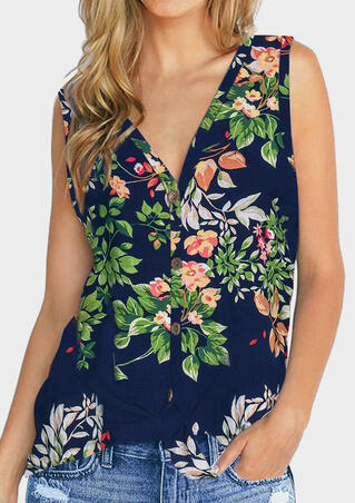 Floral Button V-Neck Tank - Navy Blue