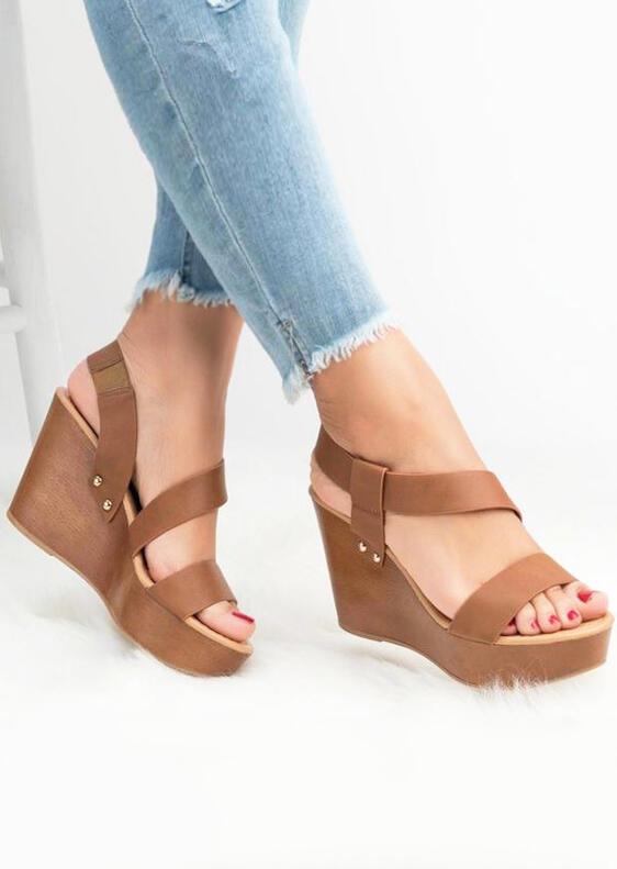 Summer Solid Wedge Sandals – Light Brown