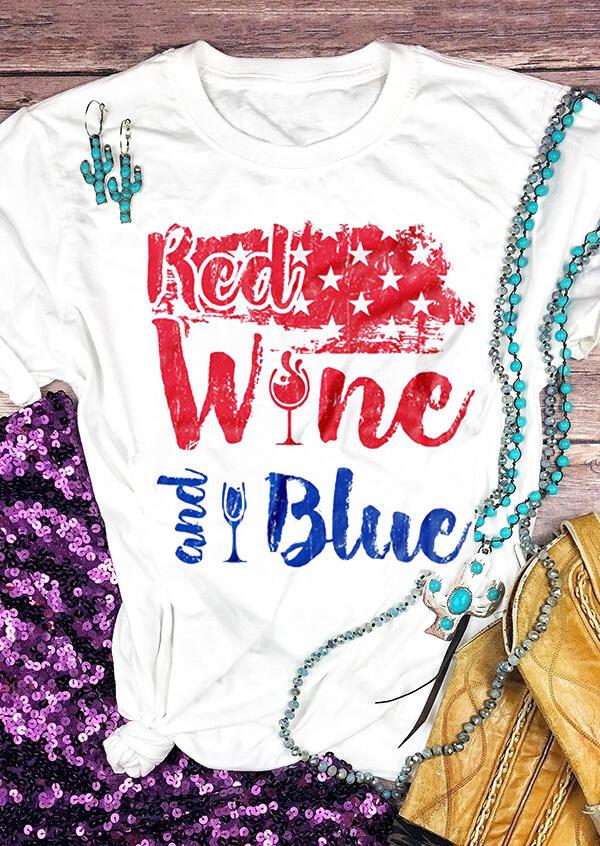 95b6cf9849c9 Red Wine And Blue Star T-Shirt Tee - White - Fairyseason