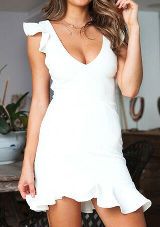 Solid Ruffled Lace Up Bodycon Dress without Necklace - White