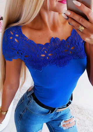 Solid Lace Splicing Hollow Out Blouse - Royal Blue
