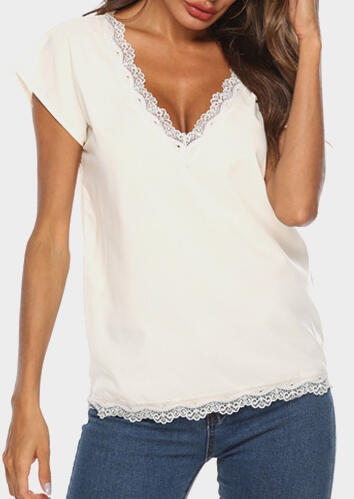 Solid Lace Splicing V-Neck Blouse – White
