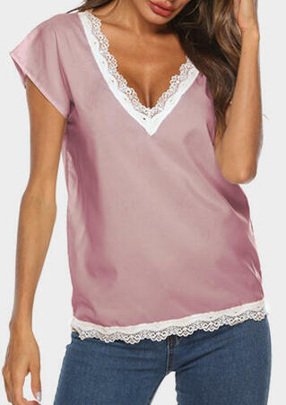 Lace Splicing V-Neck Blouse - Pink