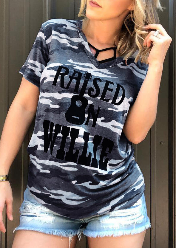 Camouflage Printed Raised On Willie Guitar T-Shirt Tee – Camouflage