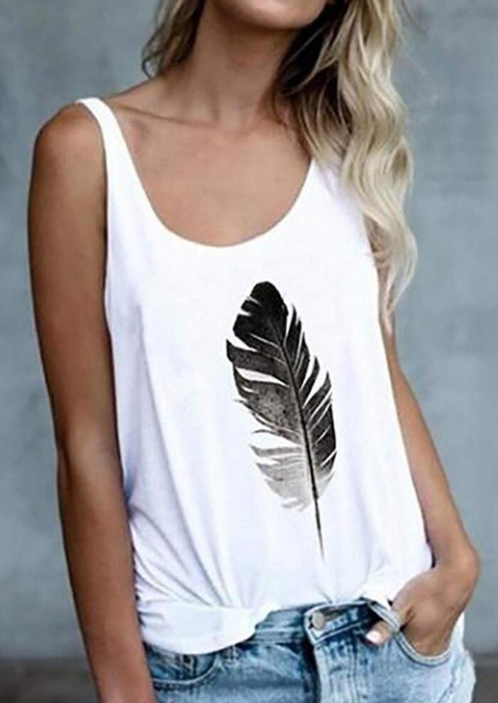Feather Printed O-Neck Tank – White