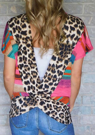 Colorful Striped Leopard Printed Hollow Out Blouse - Multicolor