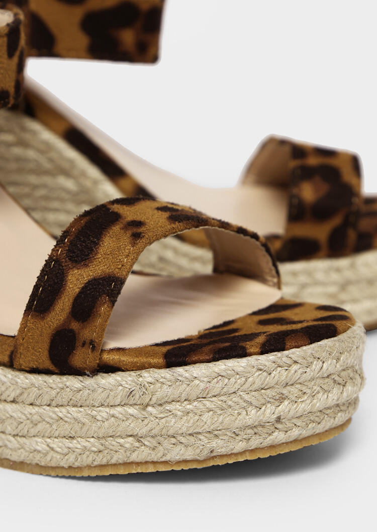 ba16b27fbf34 Leopard Printed Buckle Strap Wedge Sandals - Leopard - Fairyseason