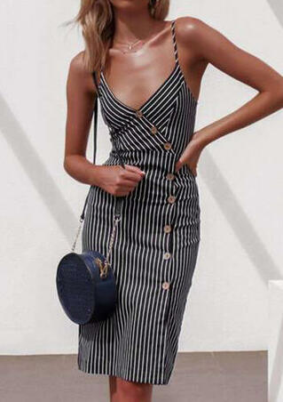 Striped Button V-Neck Bodycon Dress - Stripe