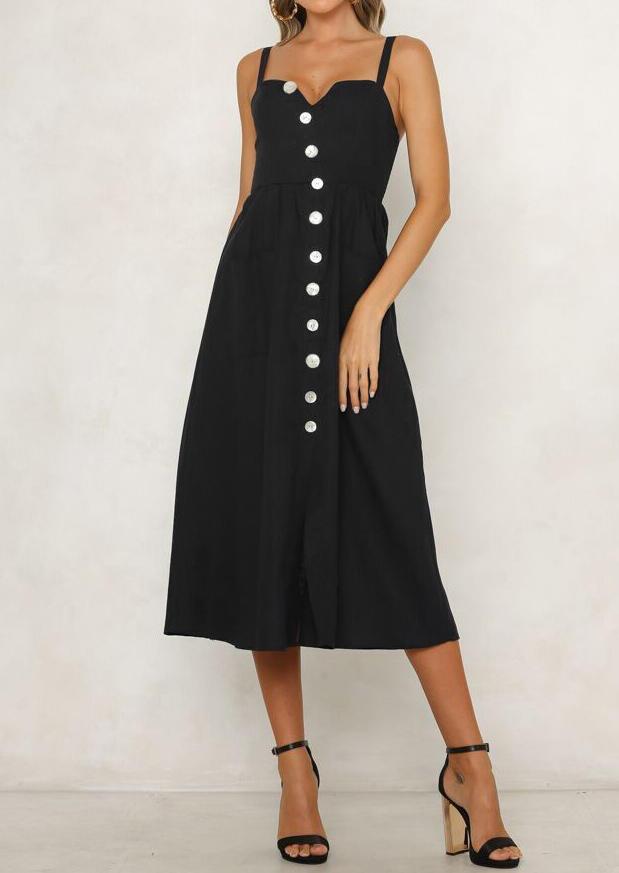 Solid Button Spaghetti Strap V-Neck Casual Dress – Black
