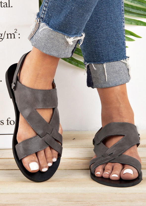 Solid Hollow Out Flat Sandals – Gray