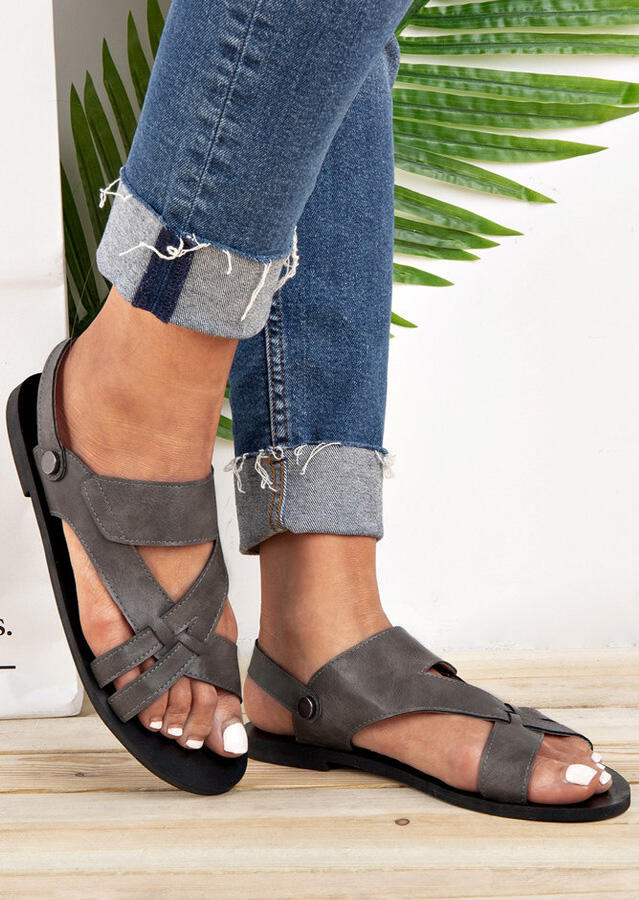 115b4931a Solid Hollow Out Flat Sandals - Gray - Fairyseason
