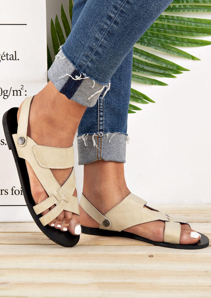 Solid Hollow Out Flat Sandals – Beige