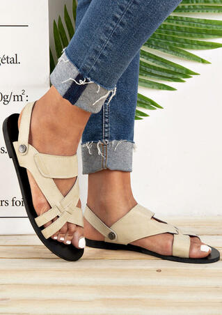 Solid Hollow Out Flat Sandals - Beige