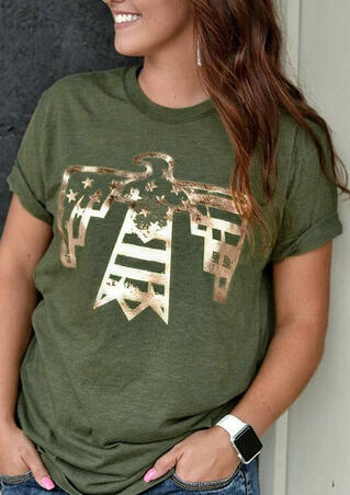Eagle Star O-Neck T-Shirt Tee - Army Green