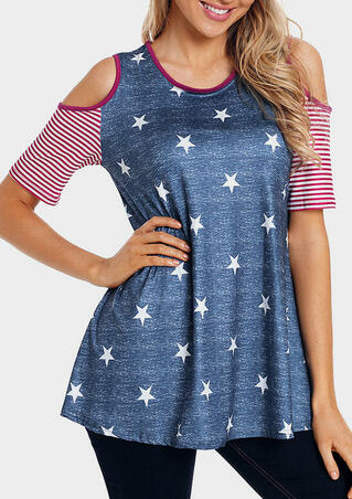 American Flag Cold Shoulder Blouse - Deep Blue