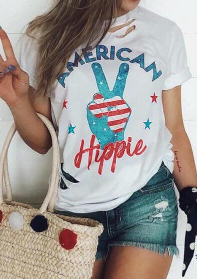 American Flag American Hippie T-Shirt Tee - White
