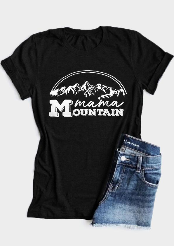 Mama Mountain O-Neck T-Shirt Tee – Black