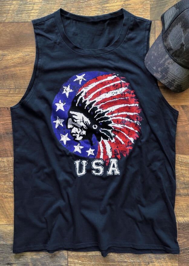 USA American Flag Indian Tank – Navy Blue