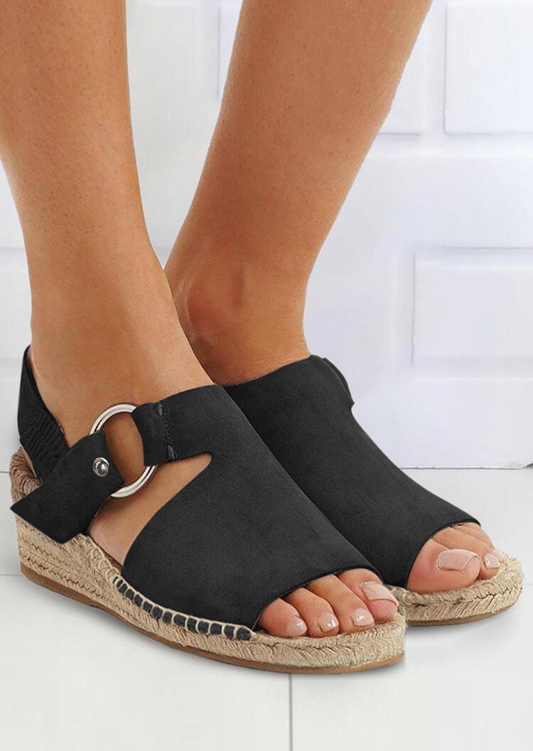 Solid Peep Toe Ring Wedge Sandals – Black