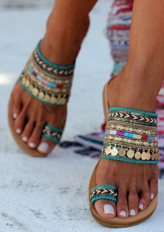 Bohemian Sequined Flat Sandals - Multicolor