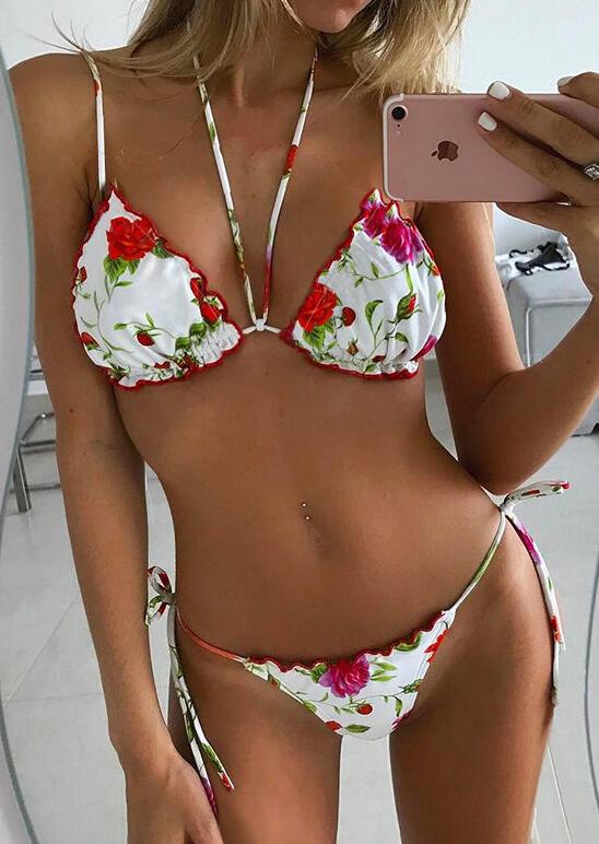 Floral Tie Halter Low Waist Bikini Set - White