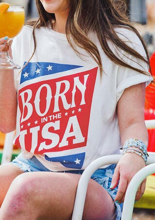 American Flag Born In The USA T-Shirt Tee - White