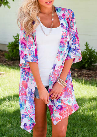 Floral Half Sleeve Cardigan without Necklace - Multicolor