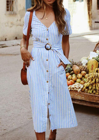 Striped Pocket V-Neck Casual Dress without Necklace - Stripe
