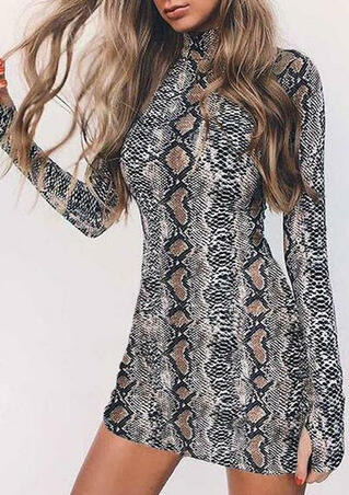Snake Skin Printed Long Sleeve Bodycon Dress
